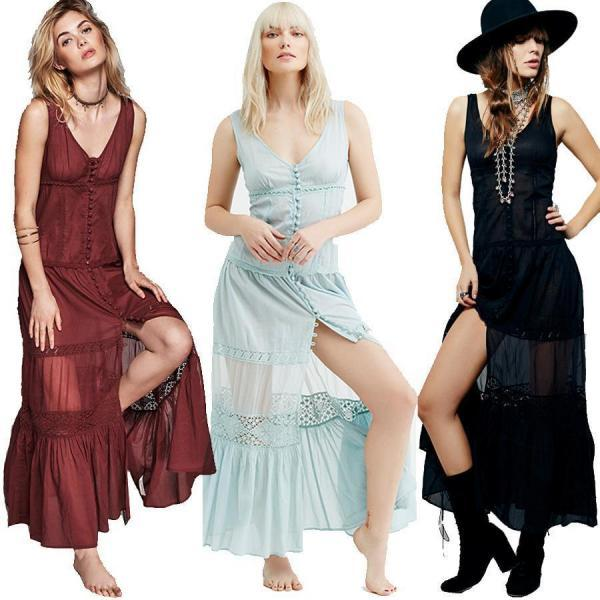 Sexy Women Sheer Maxi Slip Dress Boho Button Up V-Neck Beach Evening Prom Party