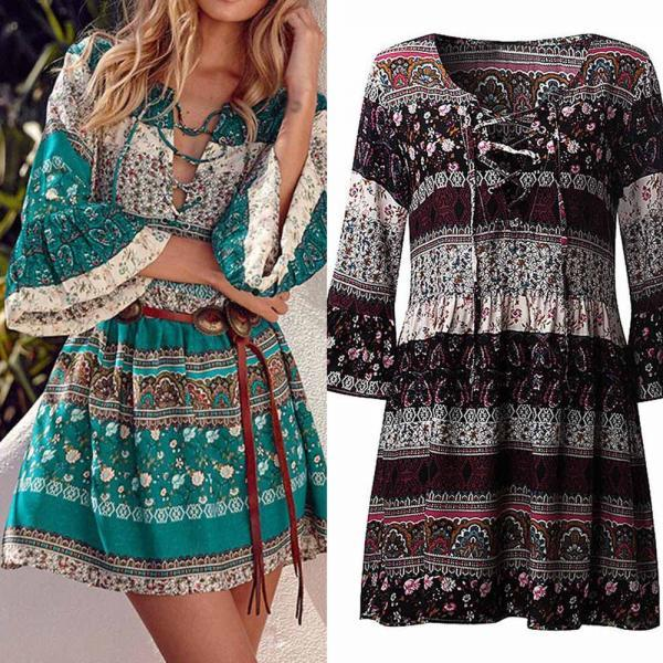 Boho Printed Lace Up 3/4 Sleeve Short Mini Dress