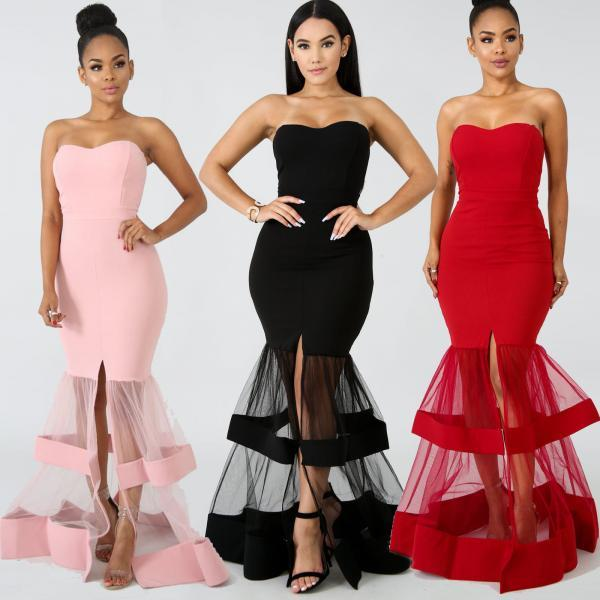 Womens Evening Cocktail Formal Dress Bandeau Prom Skirt Bodycon Slit Clothing