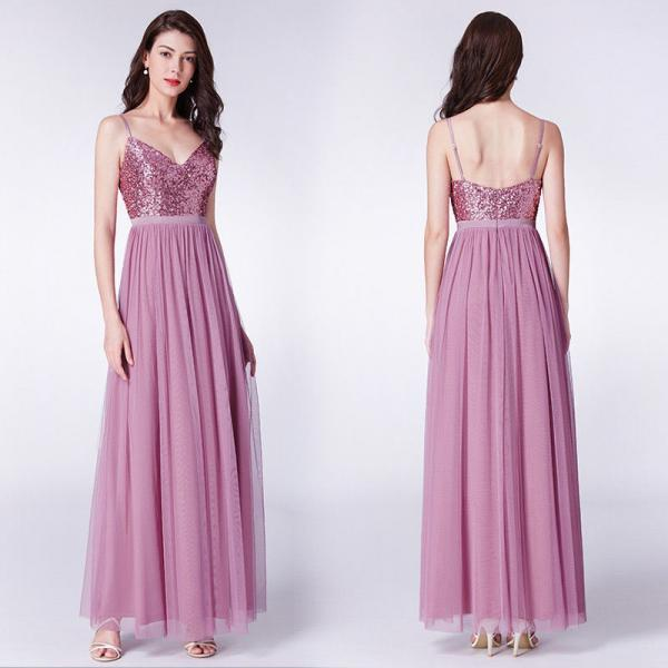 Ever-Pretty A Line Long Maxi Tulle Bridesmaid Dresses With Sequin Bodice