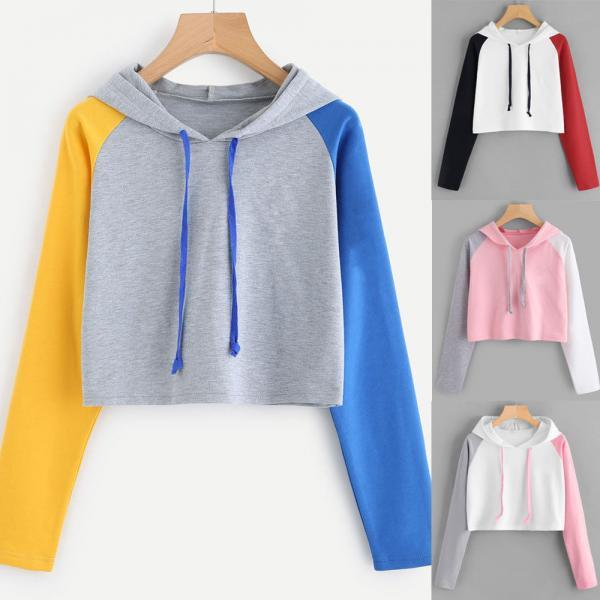 Womens Patchwork Long Sleeve Hoodie Sweatshirt Hooded Pullover Crop Tops Blouse