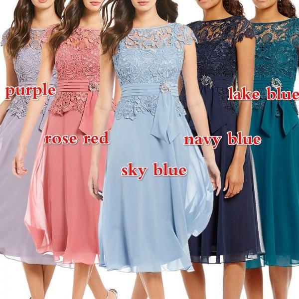 Lace Chiffon Women Elegant Party Dress High Waist Knee-length Hollow Dress