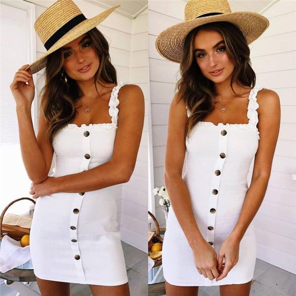 Women Sleeveless Sling Dress Ladies Button Straight Off Neck Sundress