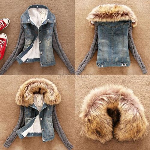 Winter Women Jeans Coat Fleece Short Denim Jacket