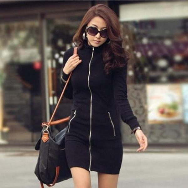 Black Fashion Casual Women's Zipper Up Long Sleeve Slim Bodycon Mini Dress
