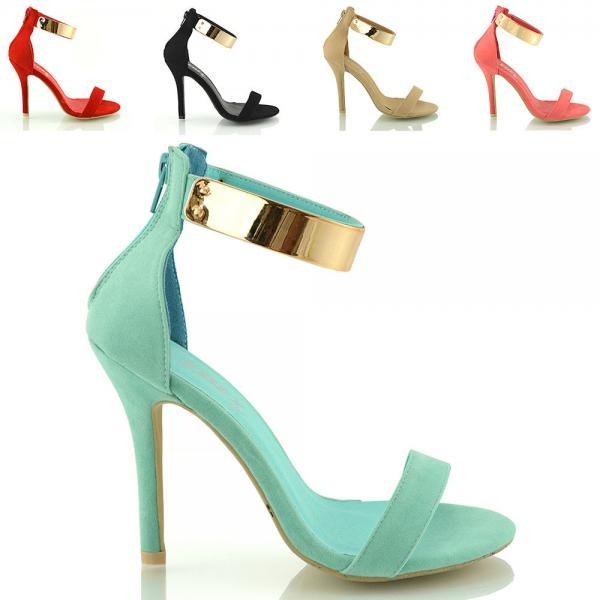ANKLE CUFF STRAP WOMENS HIGH HEEL STRAPPY SANDALS PEEP TOE SHOES