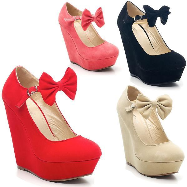 Ladies Faux Suede Platform Mary Jane Bow High Wedge Shoes