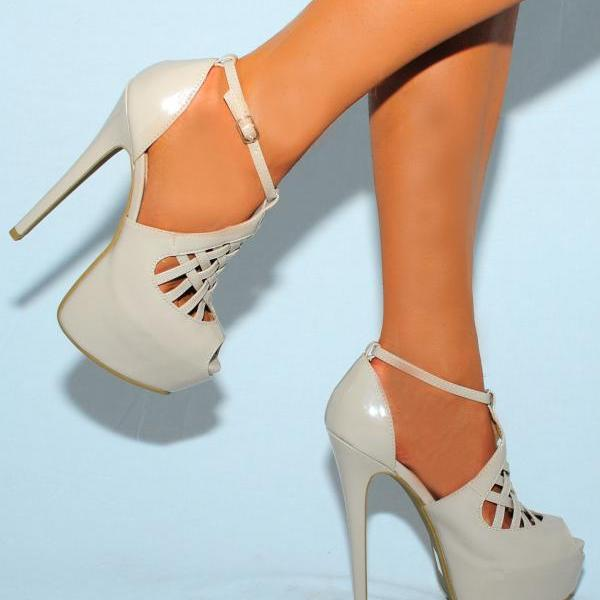 BEIGE STRAPPY SANDALS PLATFORM STILETTO HIGH HEELS PATENT LEATHER SHOES