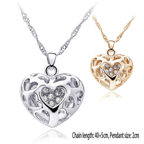 Chic Silver/Gold Plated Rhinestone Pierced Heart Necklace Pendant Charm Jewelry