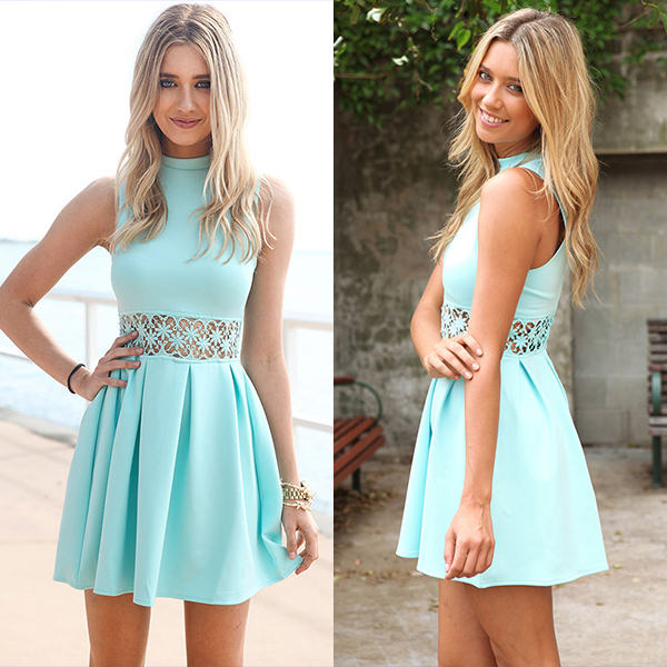 Fashion Women Sleeveless Waist Hollow Bodycon Sexy Party Cocktail Slim Dress
