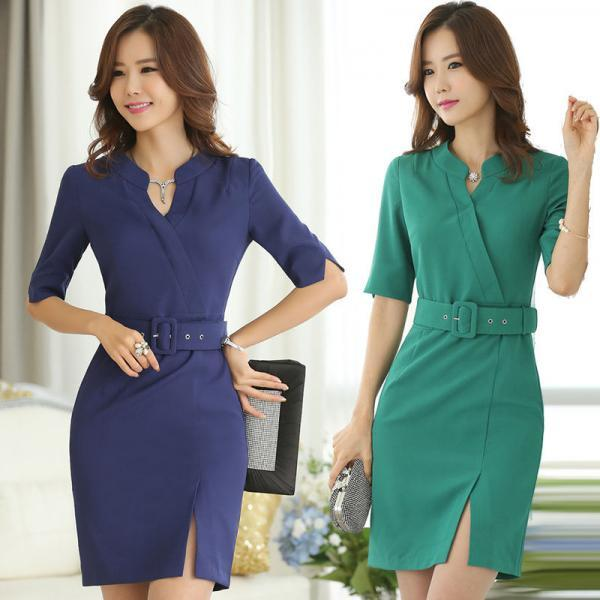 2015 New Women's Wear To Work Business Half Sleeve V-neck Bodycon dresses