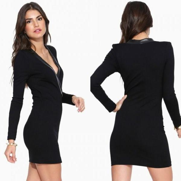 Lady Sexy V Neck Plunge Stretch Spit Bodycon Pencil Casual Cocktail Mini Dress