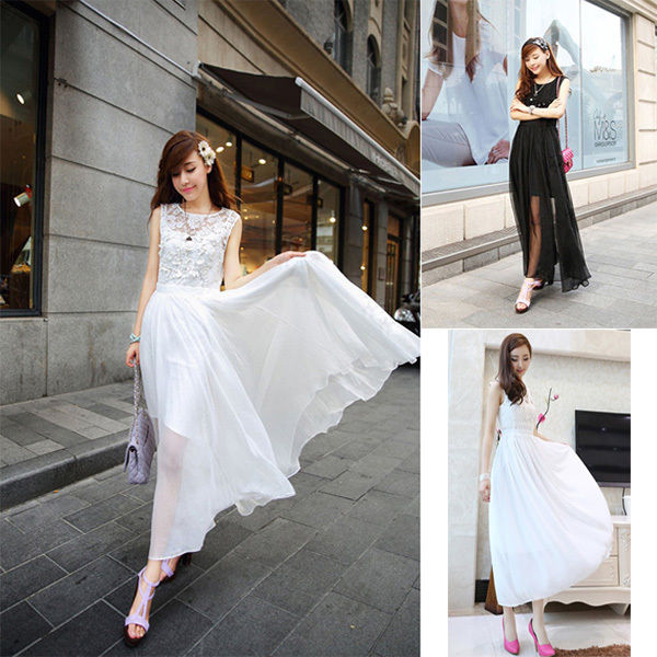 Womens Boho Long Maxi Evening Cocktail Party Dress Lace Chiffon Wedding Dress