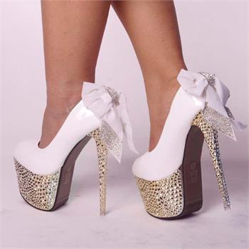 SEXY GLITTER STUDDED SPIKE DIAMANTE BOWKNOT LACE PLATFORM PARTY COURT HIGH HEELS