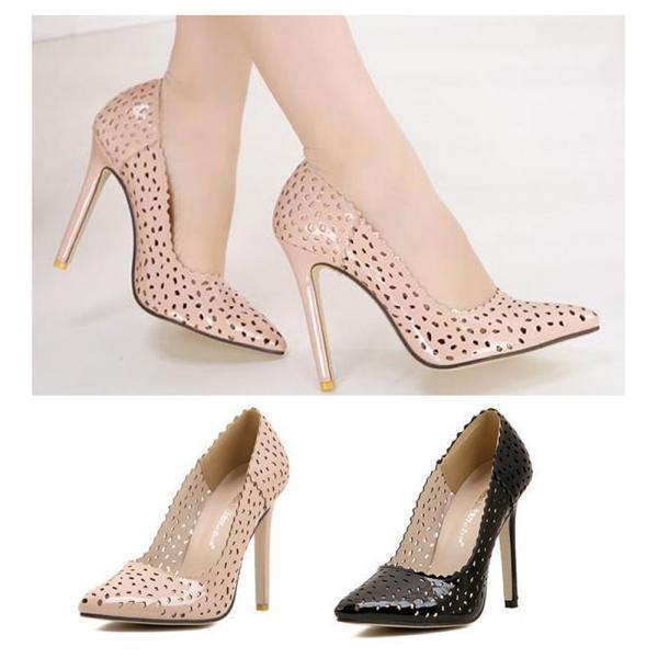 New Women Sexy Pointy Toe High Heel Hollow out Pumps Slip On OL Stilettos Shoes