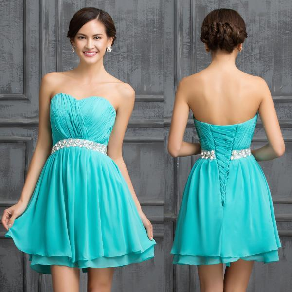 New Chiffon Beaded Short Mini Party Prom Gowns Homecoming Dress Cocktail Dresses