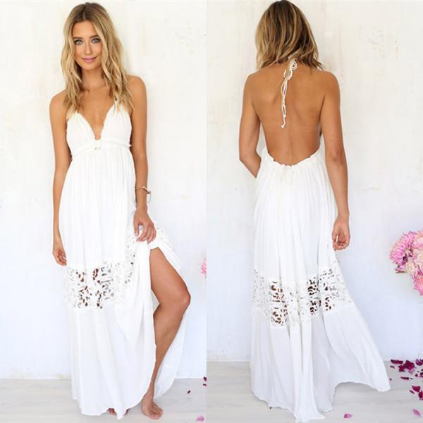 Sexy Women Maxi Long Lace Cocktail Evening Beach Backless Ball Gown Formal Dress