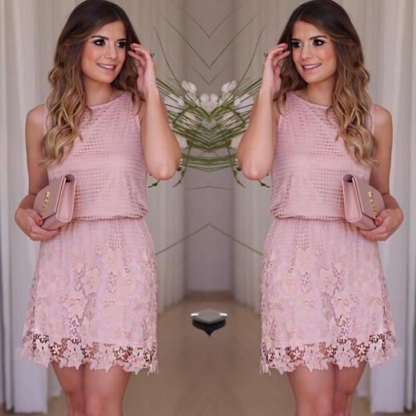 2016 Sexy Women Flower Lace Mini Dress Casual Evening Sleeveless Party Cocktail