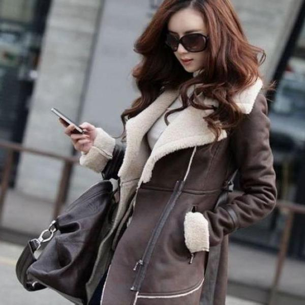 Women Suede Leather Winter Long Thick Jacket Fashion Trench Coat Outwear Parkas