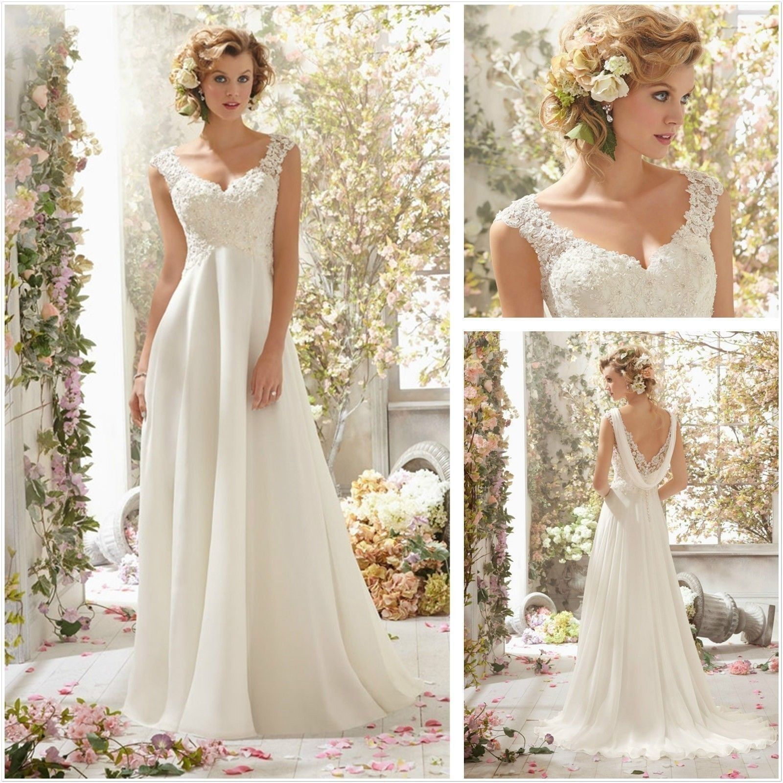 f7b665f0885 New White ivory Full-Length Chiffon Lace Applique Formal Dress Inventory on  Luulla
