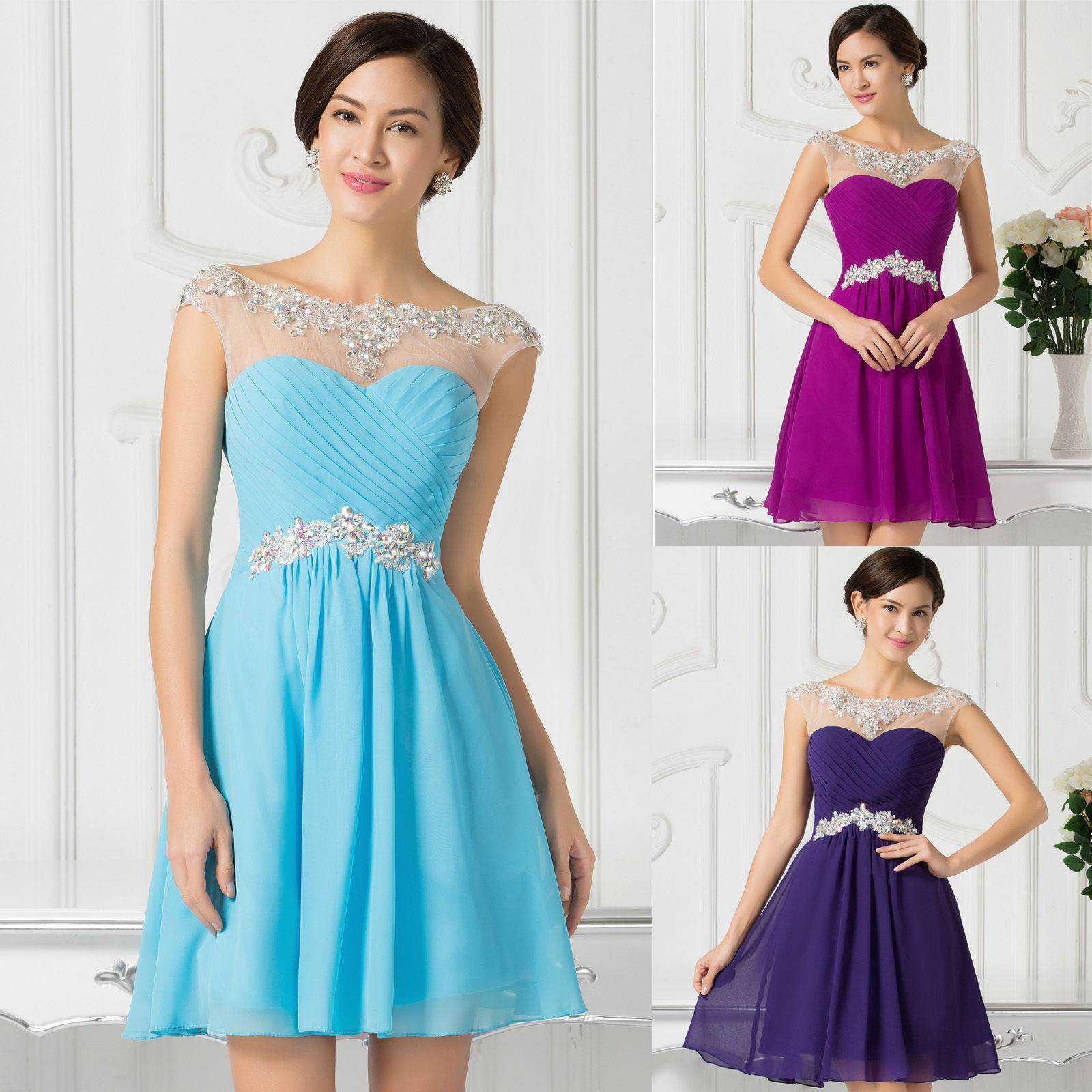 2015 Sexy Beading Short Dresses Bridesmaid Evening Party Prom Gown Wedding  Dress on Luulla 094eca9f7