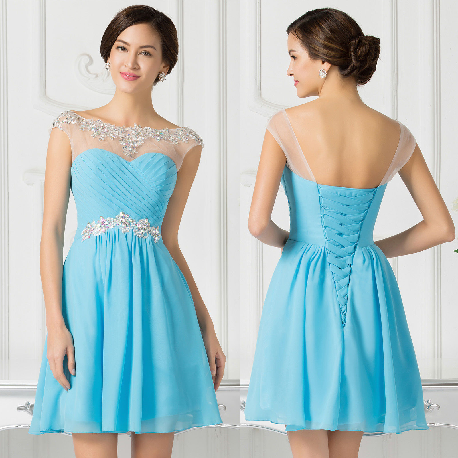2015 Sexy Beading Short Dresses Bridesmaid Evening Party Prom Gown ...