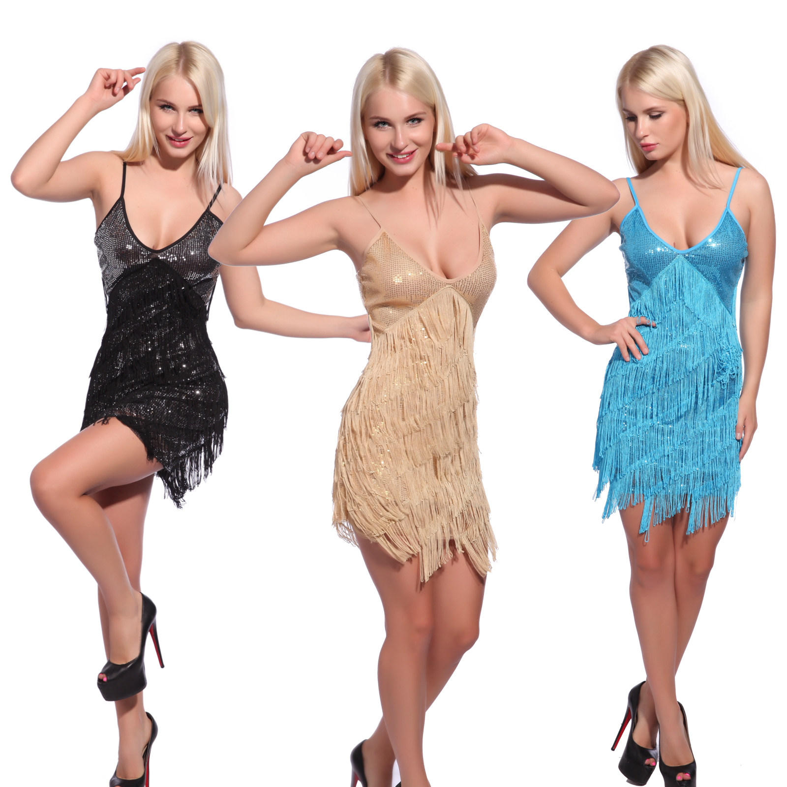 Vintage 1920s Flapper Girl Sequin Fringed Costume Cocktail Party Dance Dress