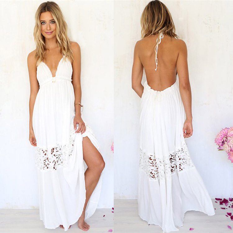 Sexy Women Maxi Long Lace Cocktail Evening Beach Backless