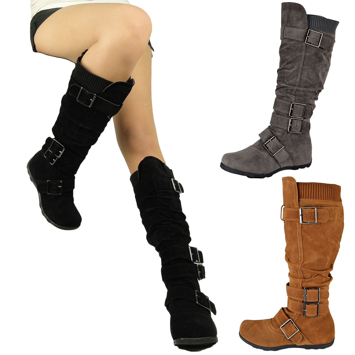 Flat Black Knee High Boots For Women