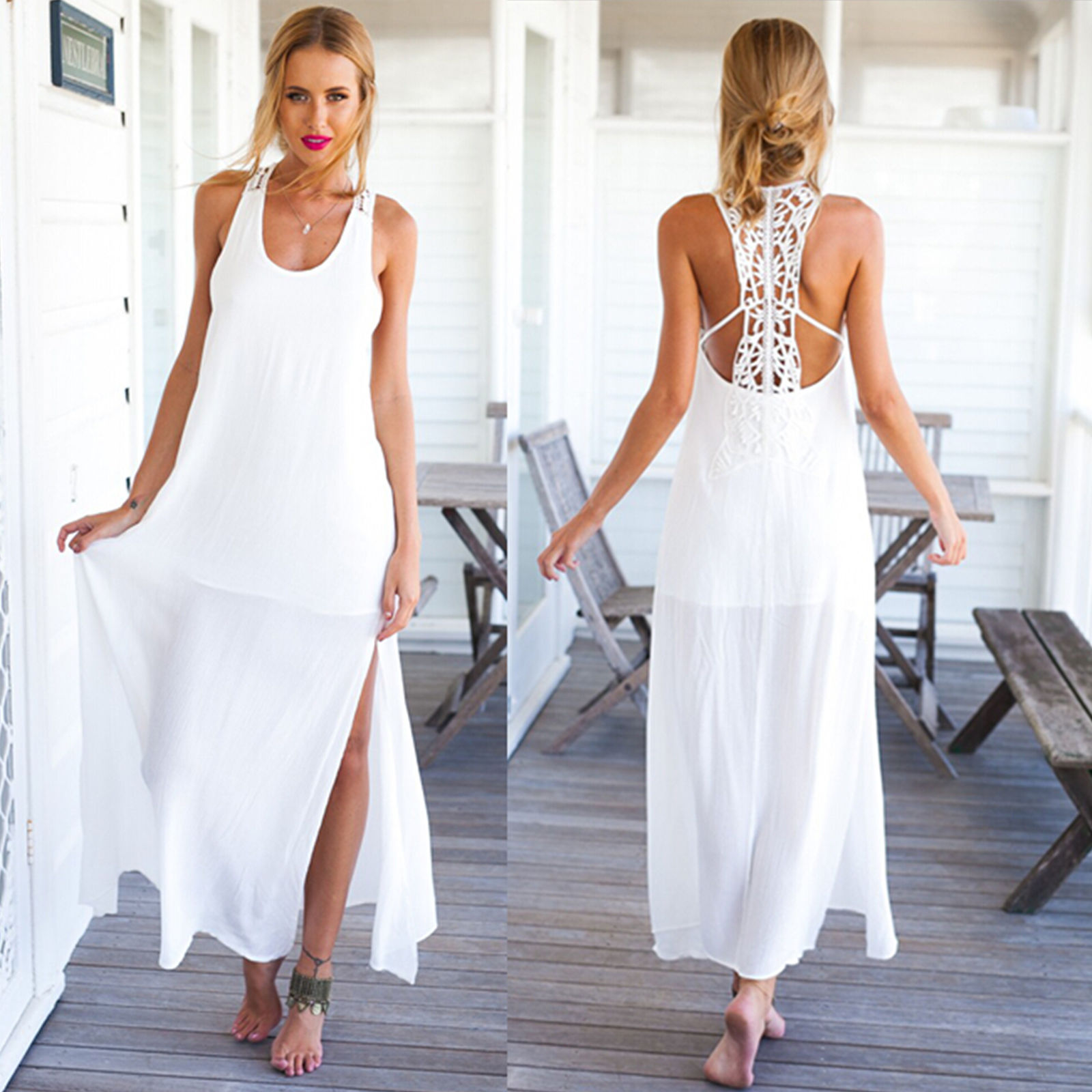 d8bbfbddc50 Women Summer Crochet Boho Evening Party Long Maxi Beach Dress Chiffon  Sundress